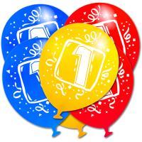 Luftballons bunt mit weißer Zahl 1 Aufdruck und Partydeko...