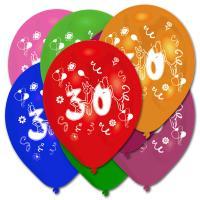 Luftballons in verschiedenen Farben und mit lustigen Zahl...