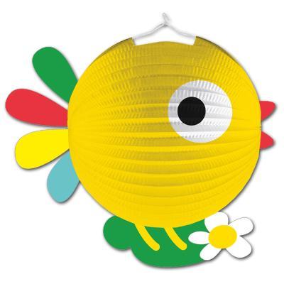 1 gelber Lampion im Design eines Kükens, passend für den Kindergeburtstag Bauernhof.