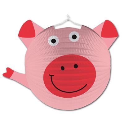 1 rosa Lampion im Schwein Design, passend für den Kindergeburtstag Bauernhof.