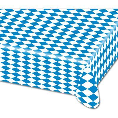 1 lange Kunststoff Biertisch Tischdecke im Oktoberfest Design mit bayrischer Raute in blau-weiß.