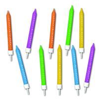 10 Geburtstagskerzen in verschiedenen Farben und HAPPY...