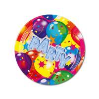 Kleine Pappteller mit bunten Luftballons Motiven und...