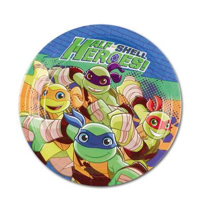 8 Kindergeburtstag Pappteller mit Motiv der Teenage Mutant Ninja Turtles.