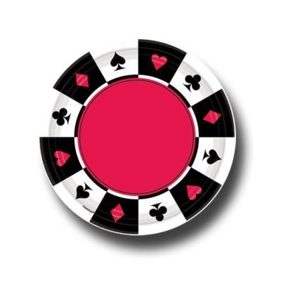 8 Pappteller mit Poker Motiven