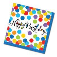 """Kleine Papierservietten mit """"Happy Birthday"""" Schriftzug..."""