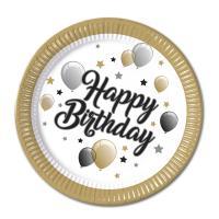 Pappteller weiß mit goldenem Rand, Happy Birthday...