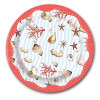 10 Pappteller mit Muschel, Seepferdchen und Korallen Motiven
