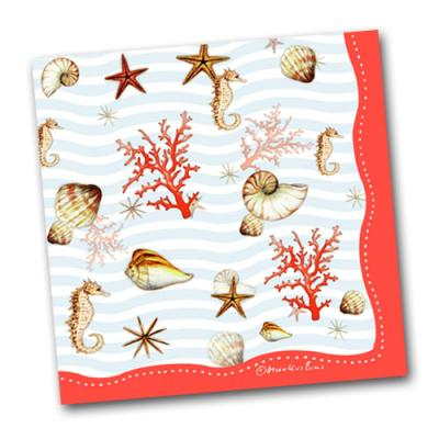 20 Papier-Servietten mit Unterwasser Motiven (Seepferdchen, Muscheln, Korallen)