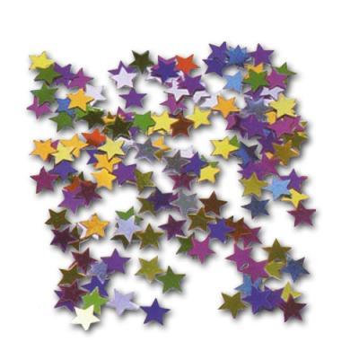 Bunte Metallkonfetti Sterne als Tischdeko oder glitzernde Streudekoration.