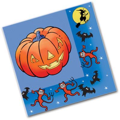 20 Motivservietten mit Grusel-Kürbis für die Mottoparty zu Halloween.