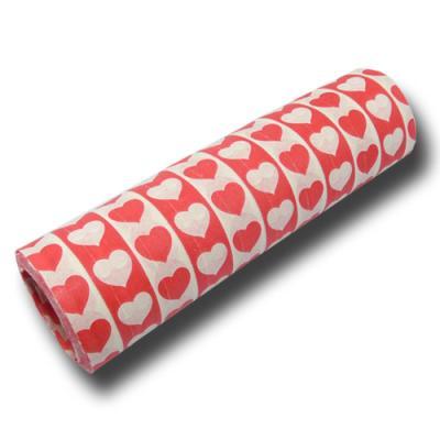 Luftschlangen rot-weiß aus schwer entflammbarem Papier mit Herzen Motiven