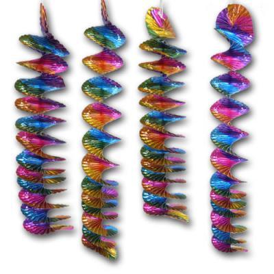 4 Partydeko Rotorspiralen bunt aus Folie. Glitzereffekt für die farbenfrohe Silvesterdeko, Geburtstagsdeko, Kindergeburtstagsdeko, Karnevalsdeko, Faschingsdeko und viele weitere Mottopartys.