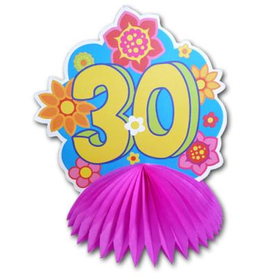 1 farbenfroher Tischaufsteller mit Zahl 30 für die bunte Geburtstagsdeko zum 30. Jubiläum.
