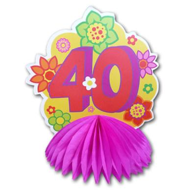 1 farbenfroher Tischaufsteller mit Zahl 40 für die bunte Geburtstagsdeko zum 40. Jubiläum.