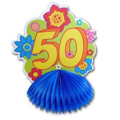 1 farbenfroher Tischaufsteller mit Zahl 50 für die bunte Geburtstagsdeko zum 50. Jubiläum.