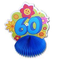 1 farbenfroher Tischaufsteller mit Zahl 60 für die bunte...