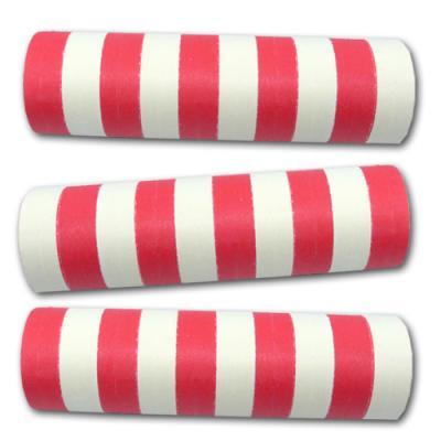 Rot-weiß gestreifte Luftschlangen für die zweifärbige Partydekoration.