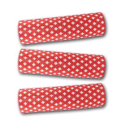 Partydeko Luftschlangen rot mit weißem Schweizer Kreuz (schwer entflammbar) für die passende Tischdekoration bei der Mottoparty Schweiz.
