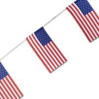 Fahnenkette mit USA mit Stars & Stripes Flaggen aus Papier