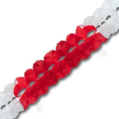 Papiergirlande rot-weiß mit ca. 4 Meter Länge und 16 cm Durchmesser