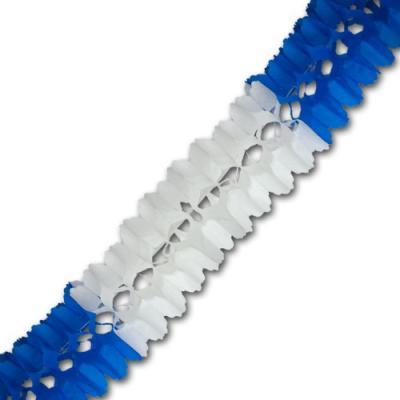 Papiergirlande blau-weiß mit ca. 4 Meter Länge und ca. 16 cm Durchmesser