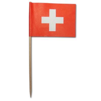 50 Stück Flaggenpicker im Design der Schweiz Fahne.