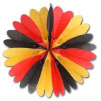 1 Rosette (Dekofächer) schwarz-rot-orange Deutschland Deko.