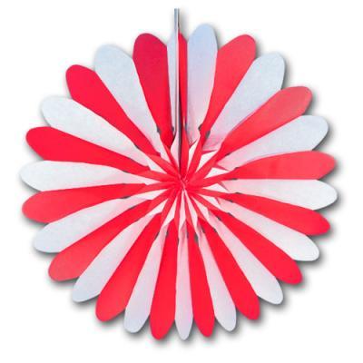 Rosette (Dekofächer) rot-weiß aus schwer entflammbarem Papier und Karton