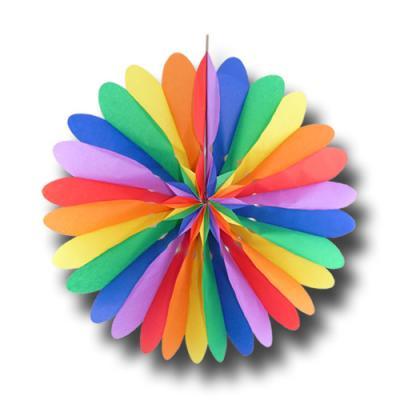 Bunte Partydeko Rosette (Dekofächer) Regenbogen aus schwer entflammbarem Papier und Karton