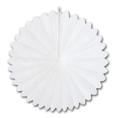 Weiße Partydeko Rosette aus Papier und Karton