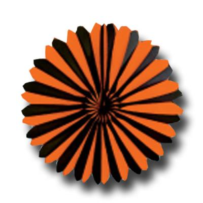 1 Dekofächer mit orangen und schwarzen Streifen für Ihre Partydeko.