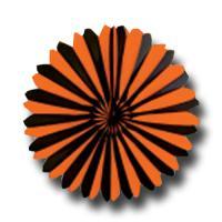 1 Dekofächer mit orangen und schwarzen Streifen für Ihre...