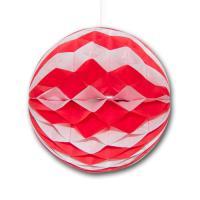 Partydeko Wabenball rot-weiß aus Karton und Seidenpapier...