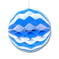 Partydeko Seidenpapier Wabenball blau-weiß für...