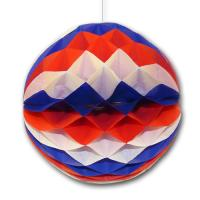 Partydeko Wabenball blau-weiß-rot für Länderdeko USA,...
