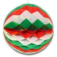 Partydeko Wabenball grün-weiß-rot für Italien oder Mexiko...