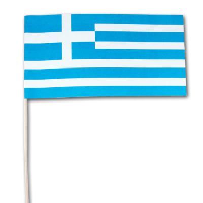 Qualitäts-Fähnchen Griechenland am Holzstäbchen.