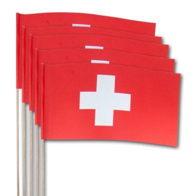 Fähnchen mit Schweiz Flaggen am hochwertigen Holzstab.