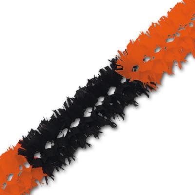 1 orange-schwarze Buschgirlande als zentrales Dekoelement für Ihre Partydeko.