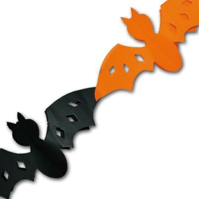 Fledermaus Girlande in orange und schwarz für eine gruselige Halloween Dekoration