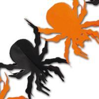 Orange-schwarze Papiergirlande mit Spinnenmotiven für die...