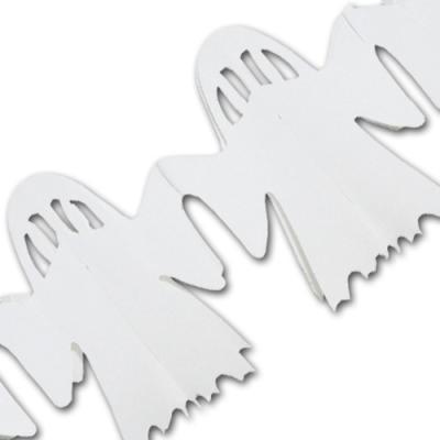 1 weiße Girlande mit Geister Motiven für eine originelle Halloweendeko.