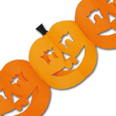 Orange Kürbiskopf Girlanden aus Papier für eine stilechte Halloween Partydeko.