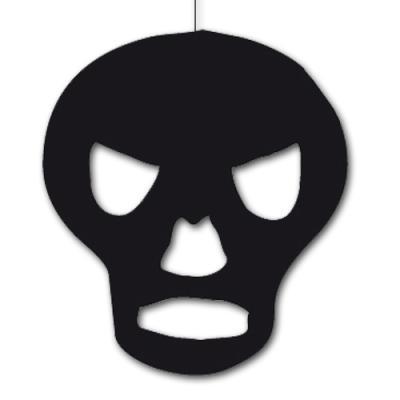 Schwarzer Dekohänger Totenkopf aus Karton für die Partydeko Halloween.