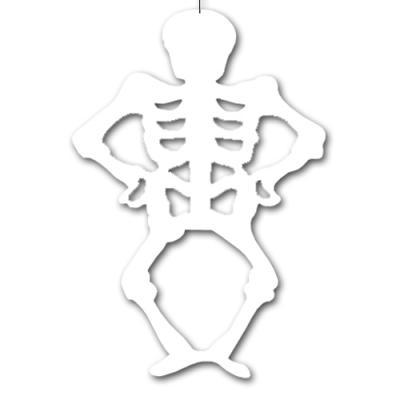 Weißer Dekohänger Skelett für eine gruselige Halloween Deko.