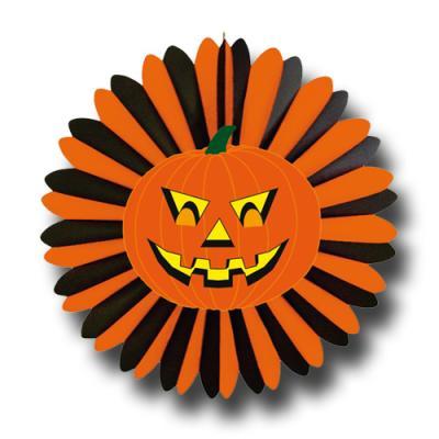 Halloween Riesenrosette orange-schwarz mit gruseligem Kürbisgesicht Motiv.