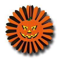 Halloween Riesenrosette orange-schwarz mit gruseligem...