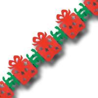 Rot-grüne Papiergirlande mit Weihnachtspaketen als Motiv.