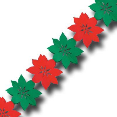 Rot-Grüne Papiergirlande Weihnachtssterne für die weihnachtliche Partydeko.